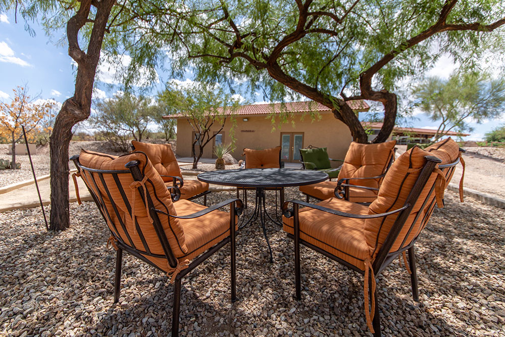 Outdoor seating at Meadows Ranch
