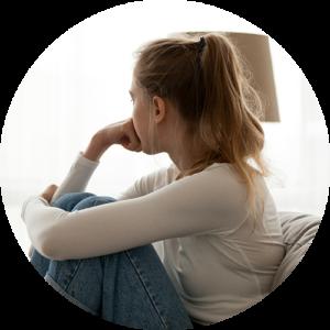 Teen contemplating